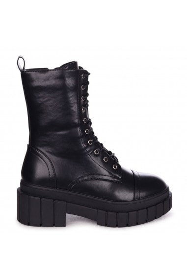 ICON - Black Nappa Lace Up Military Style Boot With Heavy Sole