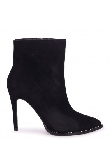 MONROE - Black Suede Pointed Stiletto Boot Heel With Diamante Trim