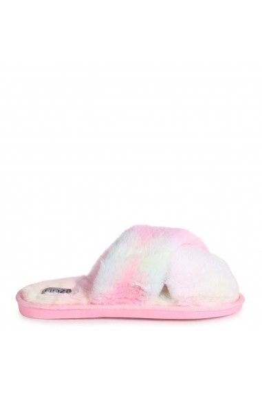 CLOUD - Pastel Tie Dye Fluffy Crossover Slippers