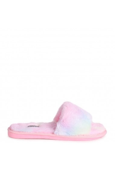 BOSSY - Pastel Tie Dye Fluffy Open Toe Slippers