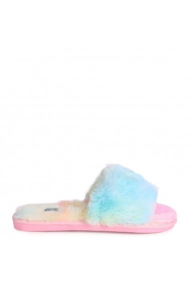 BOSSY - Tie Dye Fluffy Open Toe Slippers