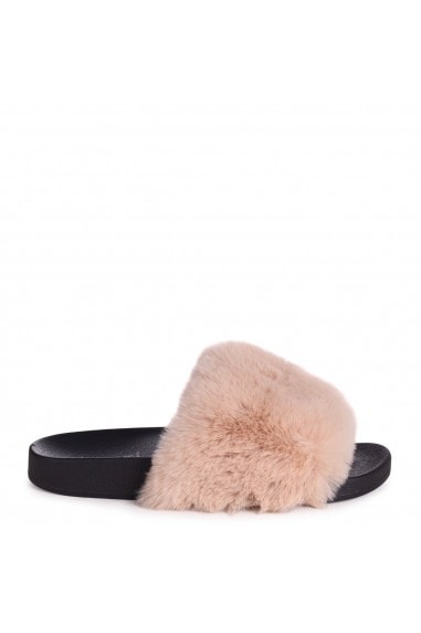 KENDALL - Mocha Faux Fur Sliders
