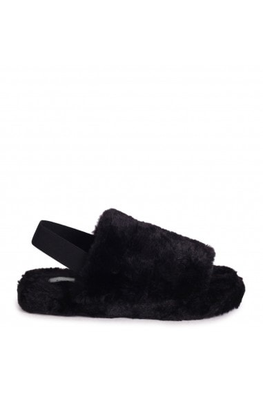 COMFY - Black Fluffy Slingback Slippers With Platform Sole