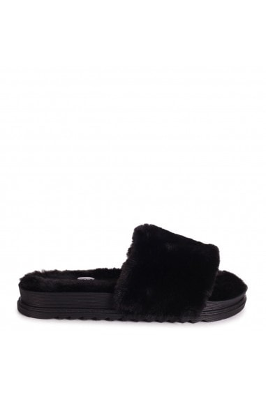FLUFFY - Black Fluffy Open Toe Slippers With Cleated Sole