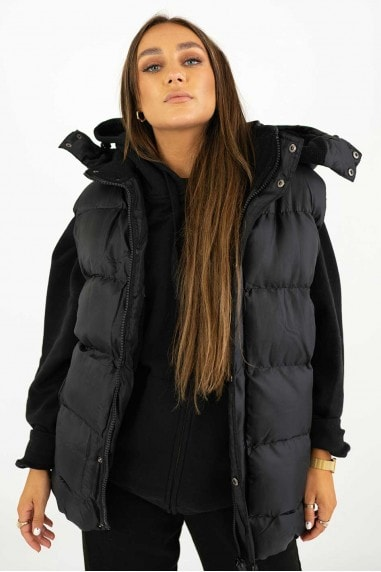 Quilted Black Zip Padded Gilet with Detachable Hood