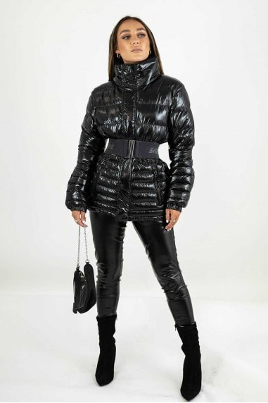 High Shine Black Padded Puffer Jacket with Detachable Belt