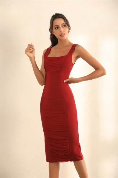 Zip Back Ruched Bodycon Bandage Midi Dress In Red