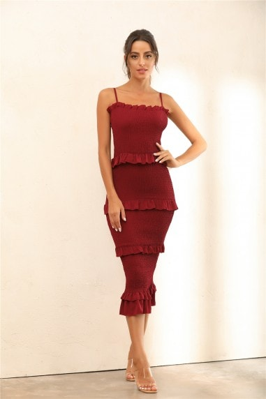 Ruffle Trim Shirred Bodycon Midi Dress In Wine Red
