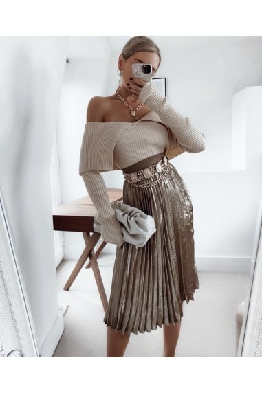 Prospect Metallic Gold Pleated Midi Skirt