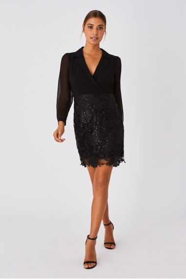 Juniper Black Shirt And Lace Mini Dress