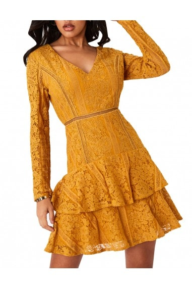 Sensation Mustard Lace Frill Mini Dress