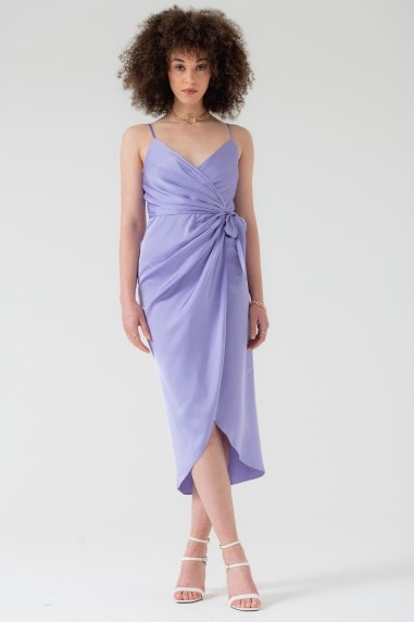 Tie Side Cami Wrap Dress in Lilac