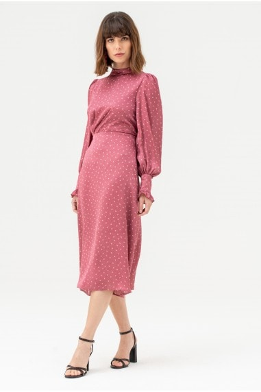 Satin High Neck Midi Dress in Pink Polka