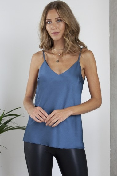 Midnight Blue Satin Effect Cami / Top