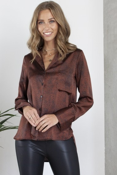 Bronze Printed Satin Effect Shirt/Blouse