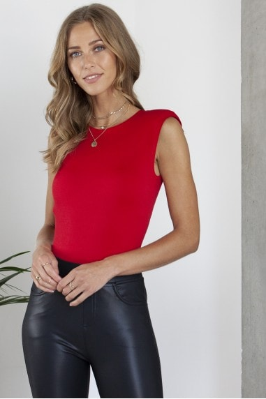 Padded Shoulder Bodysuit in Red