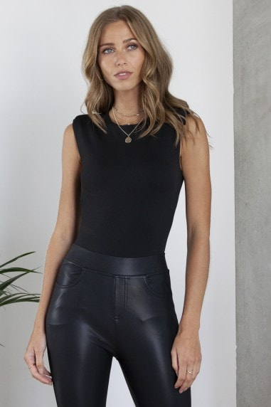 Padded Shoulder Bodysuit in Black