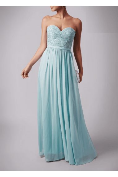 MISTY GREEN EMBROIDERY TOP DETAIL STRAPLESS DRESS