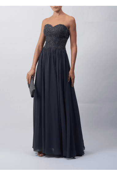 SWEETHEART NECK STRAPLESS EMBROIDERED MAXI DRESS