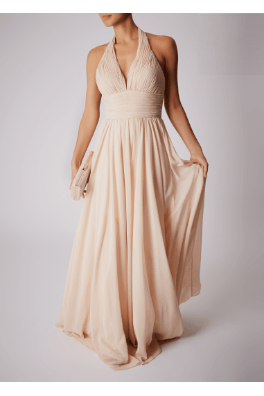 HALTER NECK V RUCHED CHIFFON DRESS