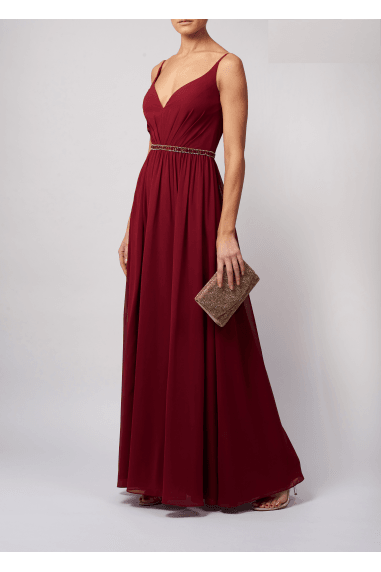 SEQUINED WAIST BAND STRAPPED MAXI DRESS