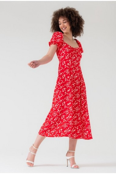 Puff Sleeve Midi Split Dress in Red Floral