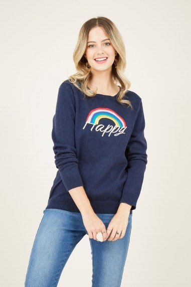 Navy Happy Intarsia Slogan Jumper