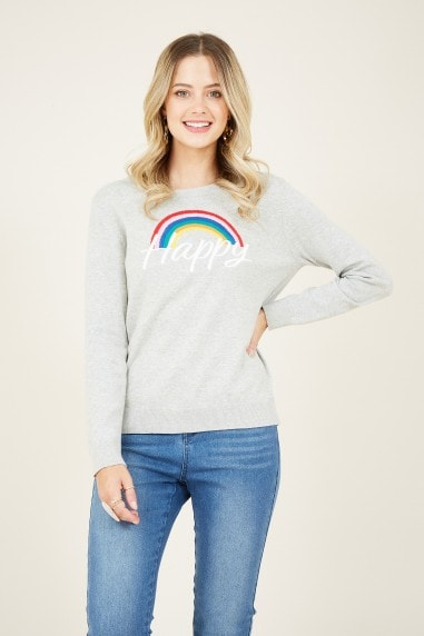 Grey Happy Intarsia Slogan Jumper