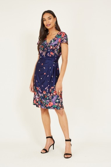 Navy Floral Ruched Bodycon Dress