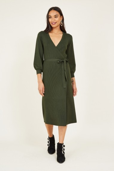 Green Knitted Wrap Dress