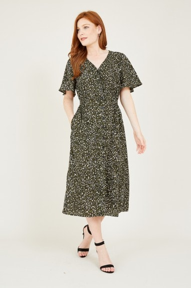 Green Animal Midi Dress