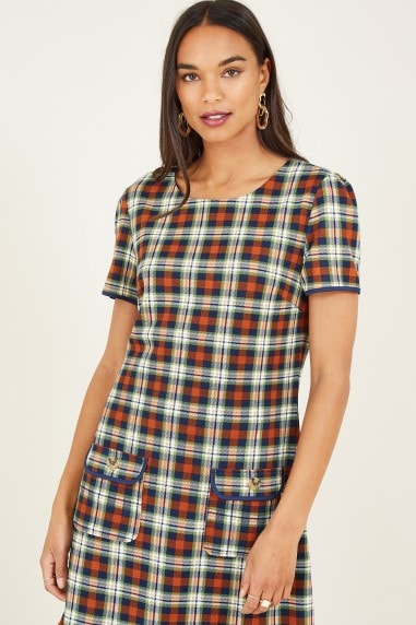 Brown Country Check Tunic Dress