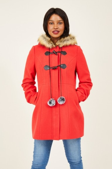 Red Duffle Coat With Pom-Poms
