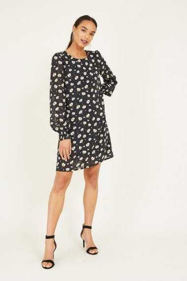Black Ditsy Floral Tunic Dress