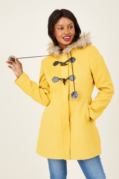 Mustard Duffle Coat With Pom-Poms