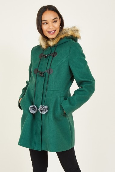 Green Duffle Coat With Pom-Poms