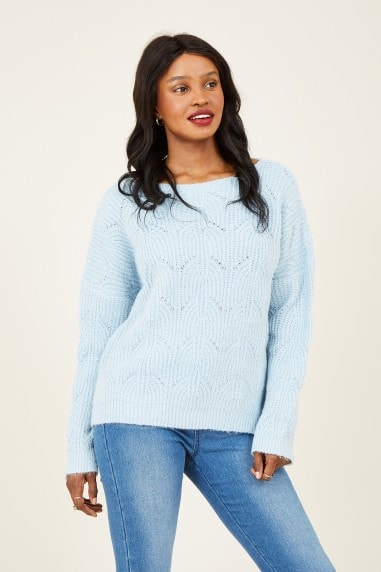 Blue Lace Sequin Jumper