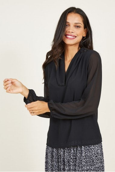 Mela Black Sheer Blouse