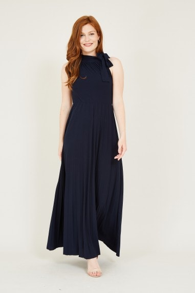 Mela Navy Bow Maxi Dress