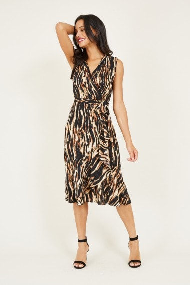Mela Brown Animal Wrap Midi Dress