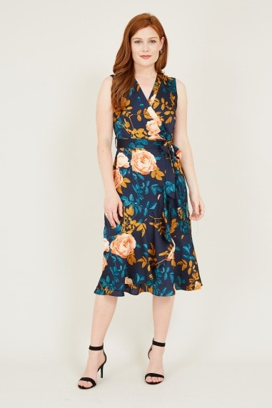 Mela Navy Rose Wrap Midi Dress