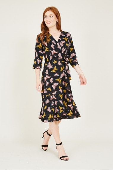 Mela Black Butterfly Wrap Dress