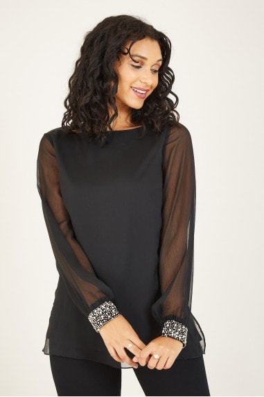 Mela Black Beaded Cuff Blouse
