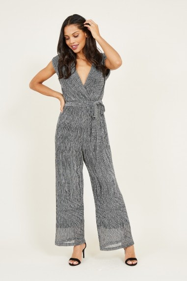 Mela Silver Metallic Wrap Jumpsuit