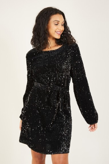 Mela Black Sequin Smock Dress