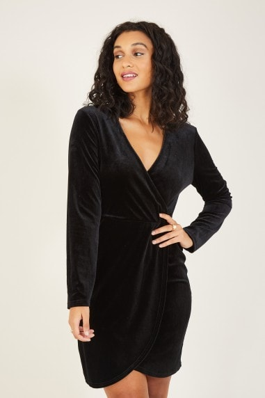 Mela Black Velvet Wrap Dress