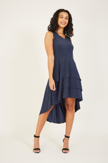Mela Navy Ruffle Asymmetric Dress