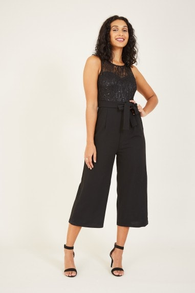 Mela Black Lace Culotte Jumpsuit