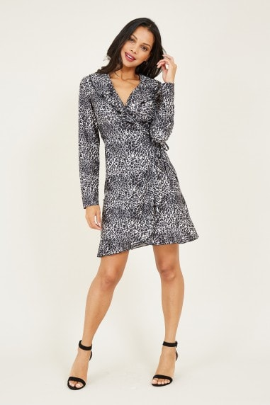 Mela Grey Leopard Print Wrap Dress