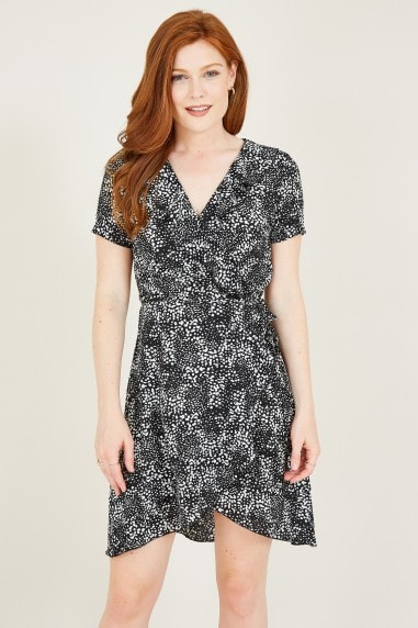 Mela Black Dalmatian Print Wrap Dress